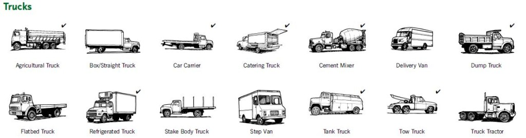 A small sampling of some Trucks We insure on a daily basis, the list is too large to mention here.